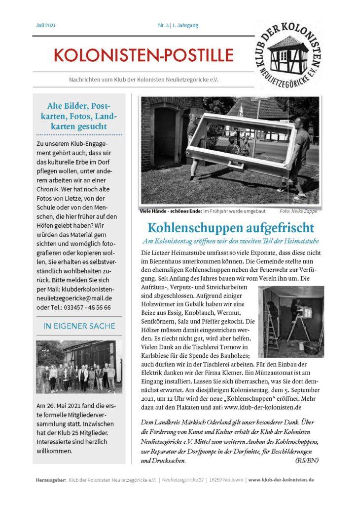 Kolonistenpostille Nr. 3, Seite 1